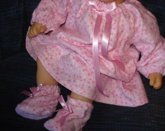 Flannel Long Nightgown and Slippers,   Baby or any 15 inch doll pink flannel
