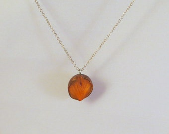 Hand Carved Avocado Pit Necklace - Glossy Lines