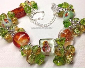 Stunning Lampwork Beaded Bracelet .