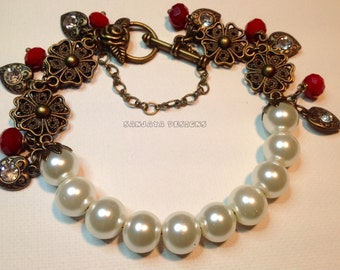 Copper and Glass Pearl Bracelet .