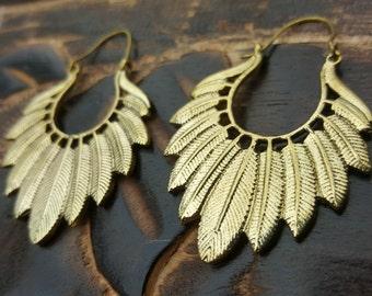Brass Willow Feather Earrings Tribal Ethnic Hoop Jewelry