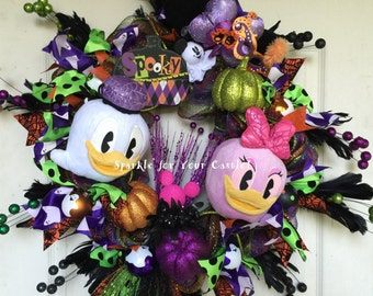 Donald Daisy Duck Halloween Wreath, Tokyo Disney Halloween Plush, Ghost Wreath, Halloween Wreath
