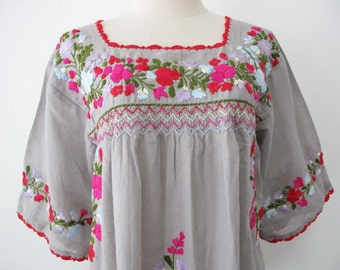 Mexican Embroidered Blouse Cotton Top In Gray, Boho Blouse, Hippie Top