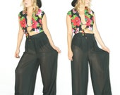 Black sheer pants . Sheer . Sheer Pants . High Waist . Black Sheer . Sheer Palazzo Pants