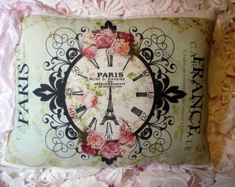 Paris CARTE POSTALE Pillow, French Clock, , French Script Pillow, Paris, France, Pink Roses Pillow, Shabby French Clock, Pretty!!  #C65