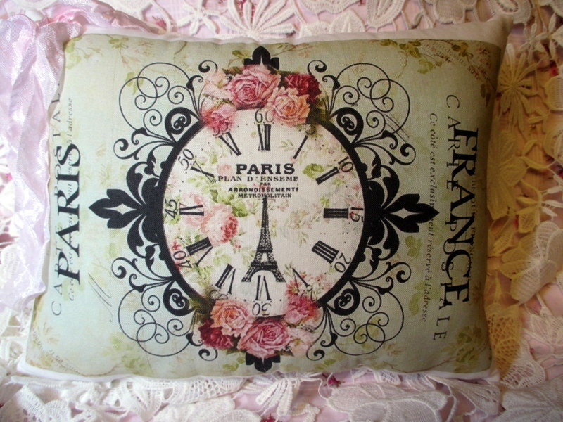 paris carte postale pillow french clock french script. Black Bedroom Furniture Sets. Home Design Ideas