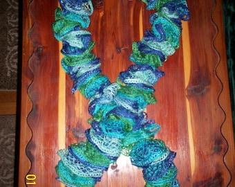 Blue Green Scarf,Ruffled Blue Green Scarf,Women's Blue Green Scarf,Girls Blue Green Scarf,Blue Green Ruffled Scarf,Girls Ruffled Scarf