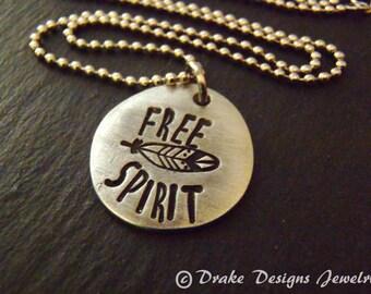 Free spirit necklace boho jewelry bohemian gypsy feather necklace