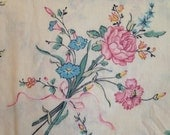 LADY PEPPERELL Cream Floral Queen Flat Sheet, Vintage Vines and Flower Bouquets Queen Flat Sheet