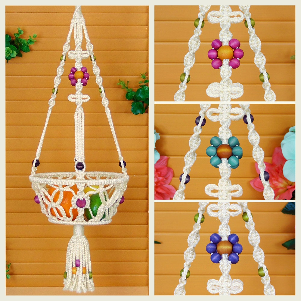 macrame hanging basket macrame hanging basket 8 fruit bowl vegetable holder 1088