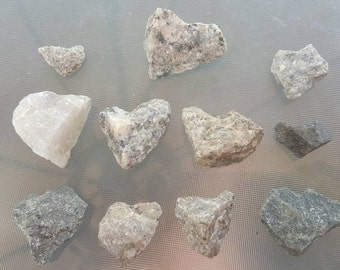 11 Heart Rocks, Love, Pebbles, Earth, Happiness, Supplies, Assemblage, Weddings, Gardens, Imagination, River Stones