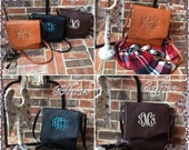 Monogram Faux Leather Crossbody Purse, Monogrammed Handbag, Monogram Bag