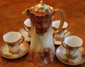 Rosenthal Bavarian China Versailles Style Chocolate Pot Set, Bavarian Coffee Pot, Rosenthal China Four Cup and Saucer Sets