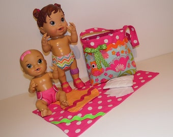 Diaper Bag Set with Reusable Waterproof Diapers Made Specifically to Fit Baby Alive and Sips N Cuddles Dolls, Child's Toy, Big Sister Gift