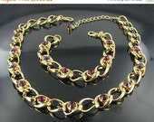 This item is ON SALE Burgundy Glass Rhinestone Demi Necklace Bracelet set Dazzling prom jewelry