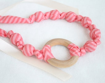 Fabric Necklace with Wood Ring Pendant,Teething Necklace, Chomping Necklace, Nursing Necklace - Coral Pink Stripe