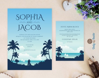 Hawaiian wedding invitation and details card  | Beach wedding invitation printed on shimmer cardstock | Destination wedding invitations