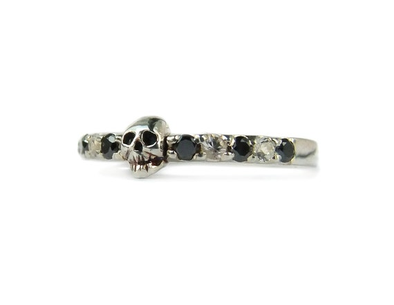 RESERVED FOR ELIZABETH Payment Plan Total Price 290 Euro Sterling Skull Ring with natural black and white Diamonds Size 7.5