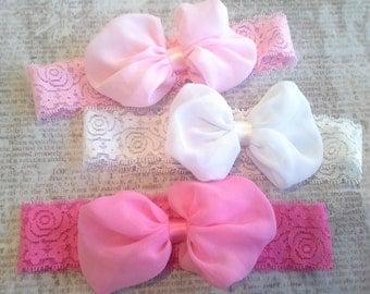 set 3 headbands, baby headbands,lace headbands, spring headband, chiffon bow headbands,pink headbands, baby shower, new baby, gift, bow kno