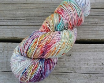 Speckled hand dyed yarn, multicolor hand dyed yarn, sock yarn, superwash merino, fingering yarn, speckled sock yarn