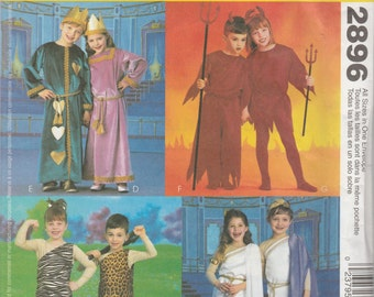 McCall's Costumes 2896 Size 3-8 Children/Boys/Girls Tunic Roman, Caveman, King and Queen of Hearts, Devil Costumes Sewing Pattern 2000 Uncut