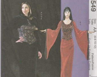 McCall's M4549 Size 6-8-10-12 or 14-16-18-20 Misses' Goth Costumes Sewing Pattern 2004 Uncut