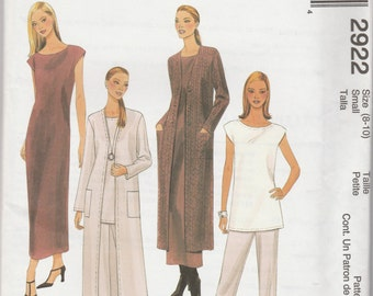 McCall's 2922 Size 8-10 or 12-14  Misses'/Miss Petite Duster, Dress or Tunic and Pull-On Pants Sewing Pattern 2000 Uncut