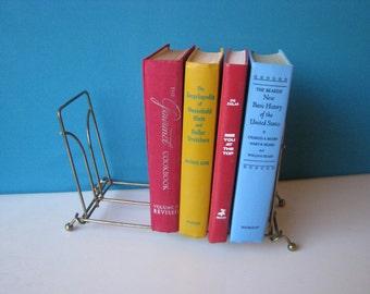 Brass Wire Book Rack - Desktop - Folding - Book Shelf -  Vintage 1960's