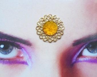 Orange Indian Dance Bindi, TRibal Fusion Bellydance Gold Filigree Rhinestone Sun Summer Goddess Earthy Boho Bindi Spiritual Woman
