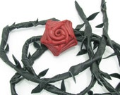 Red Leather Rose Belt/Wrap With Black Leather Strap