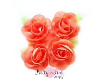 Autumn Orange Chiffon Rose with Leaf Flower...You Choose Quantity...Chiffon Rose Flower...Rosettes...Mini Rolled Rosettes...Shabby Rose