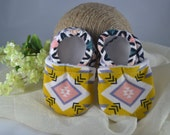 Aztec Corduroy Baby Shoes - Mushies Baby Shoes - Grip Sole Baby Shoes - Fleece Lined Fabric Baby Shoes - Corduroy Baby Shoes