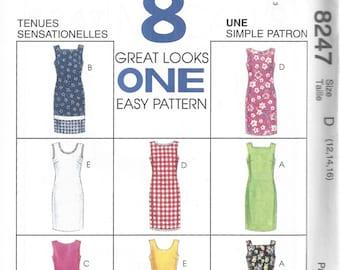 Shift Dress Pattern Sz 12 14 16 Bust 34 36 38 McCalls 8247