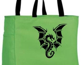 Black dragon tote bag - polyester tote bag - black dragon craft tote - original design dragon design bag - fantasy mythical design tote bag