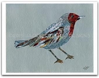 "Bird collage print, 8 x 10"" giclee, Bird art, Woodland nursery art, Forest animal nursery, Animal collage, Acrylic painting print, Cabin art"