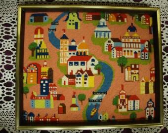 Folk Art Needlepoint Town Picture