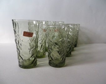 Libbey Aztec Olive Green Crinkle Glass Glasses Set of 8
