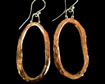 Hammered Copper & Fine Silver Earrings