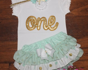 Mint and Gold 'ONE' or 'TWO' Ruffle Bloomers Outfit