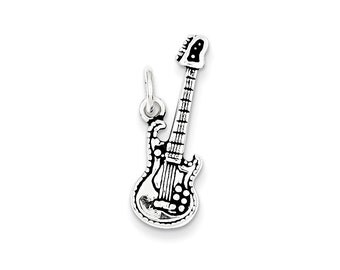 Sterling Silver Antiqued Electric Guitar Charm