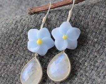 Lampwork Earrings, Lampwork Glass Earrings, Moonstone Earrings, Rainbow Moonstone Earrings, Glass Lampwork Earrings, Flower Earrings