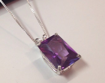 Gorgeous Emerald Cut Alexandrite Sterling Silver Solitaire Pendant Necklace Color Change Alexandrite Necklace 9ct June Birthstone Gift Mom