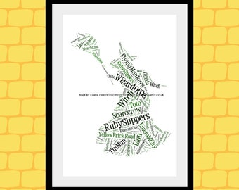 Wicked Witch Print, Personalised Wicked Witch, Witch Word Art,Witch Word Collage, Witch Word Cloud, Wizard Of Oz  Gift, Wizard Of Oz Print