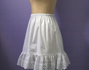 White Cotton Plus Size Petticoat, Slip Extender,    Petite Plus, Tall Plus,  made in USA