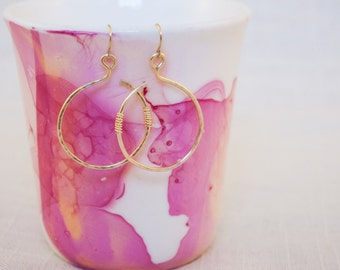 Hammered Wire Circle Earrings
