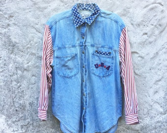 Vintgage 90s Denim Stars and Stripes Patriotic USA Button Down Shirt