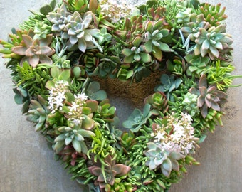 Succulent Heart Wreath 15 inch diameter