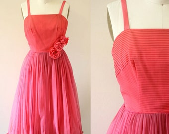 1950s chiffon party dress // 1950s coral cocktail dress // vintage dress