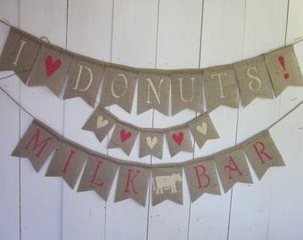 Donut Birthday Banner - Doughnut Themed Baby Shower Banner - Donut Bridal Shower Bunting - Milk and Donuts Kids Birthday Party Garland Sign