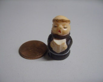 Vintage Friar Monk with Prayer Book Plastic Miniature Figurine Hong Kong Diorama